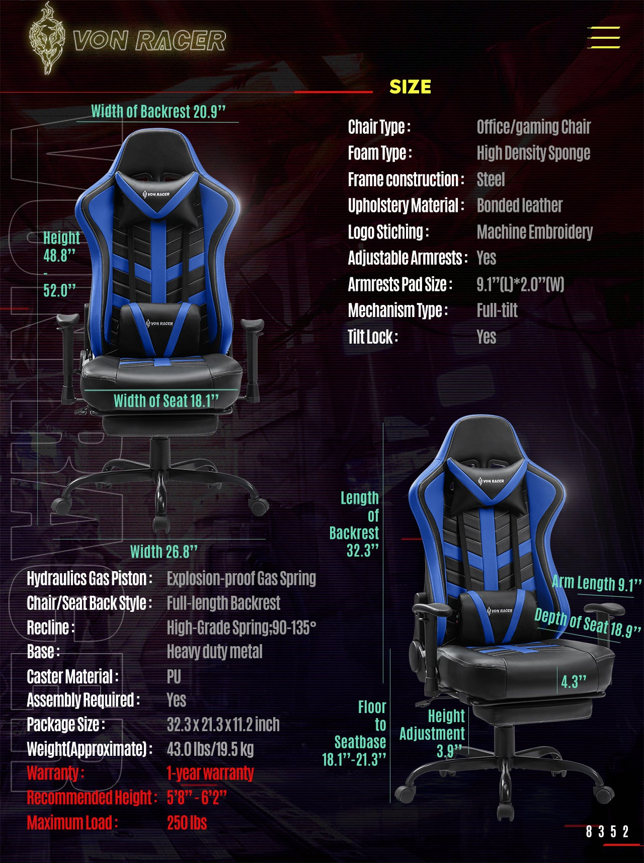 Von Racer Blue Gaming Chair BEETLE 2020 Series Specifications