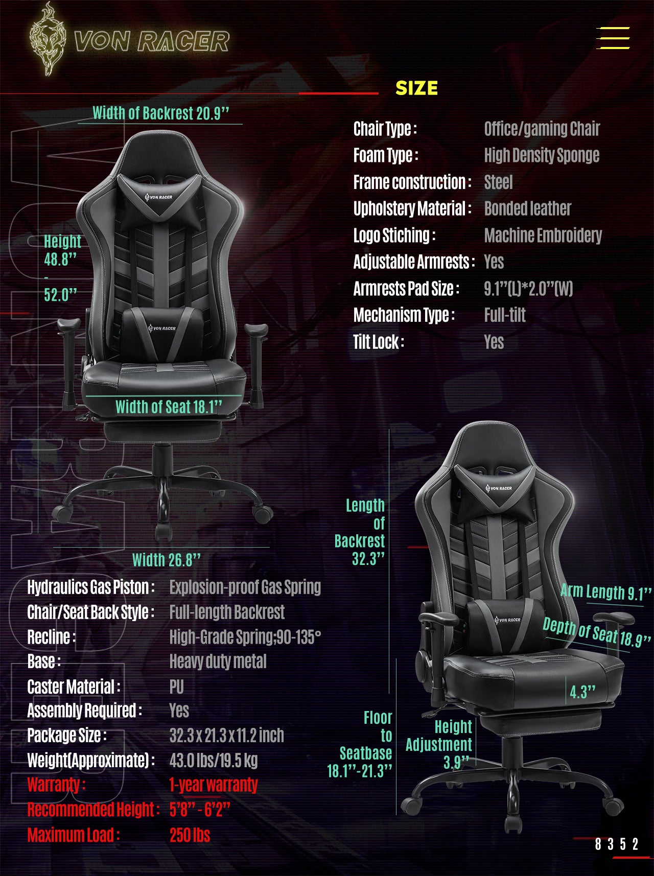 Von Racer Gray Gaming Chair BEETLE 2020 Series Specifications