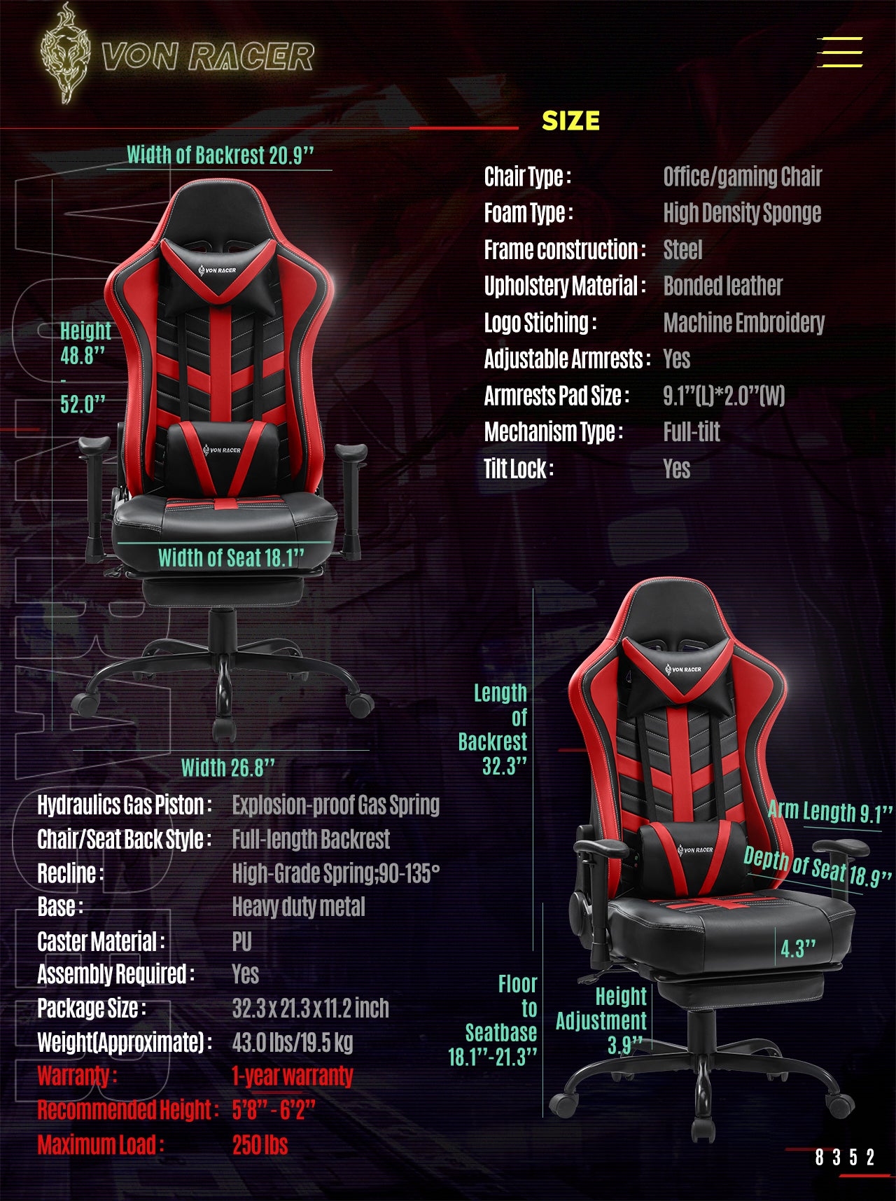 Von Racer Red Gaming Chair BEETLE 2020 Series Specifications