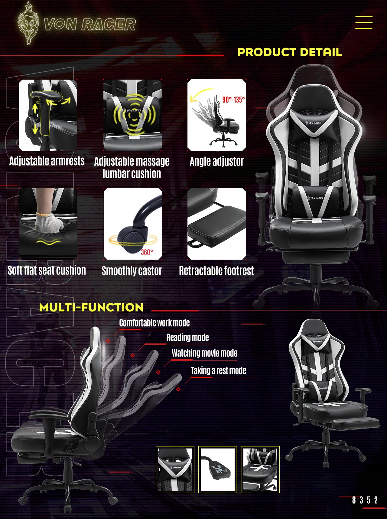 Von Racer White Gaming Chair BEETLE 2020 Series Adjustablity