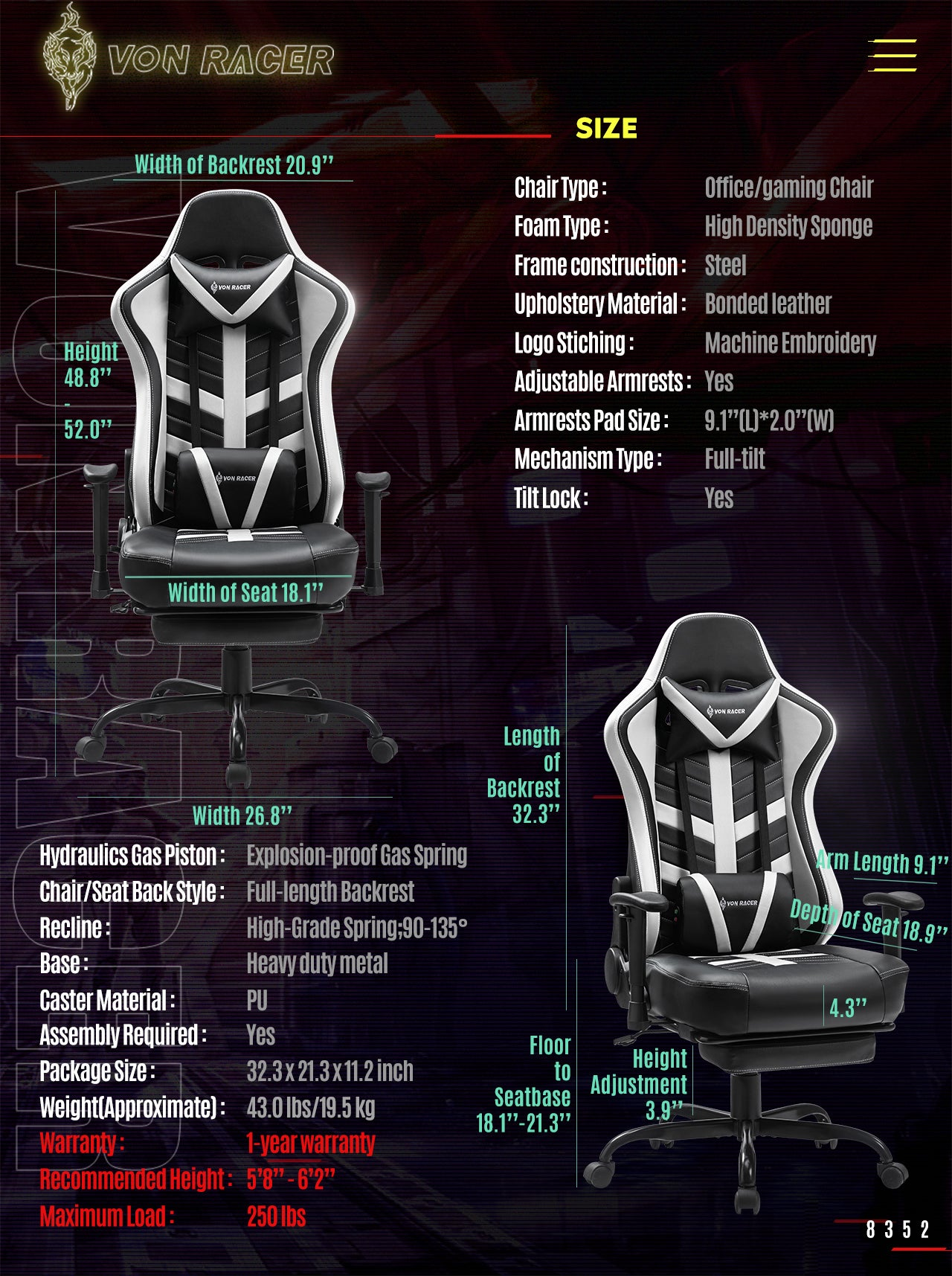 Von Racer White Gaming Chair BEETLE 2020 Series Specifications
