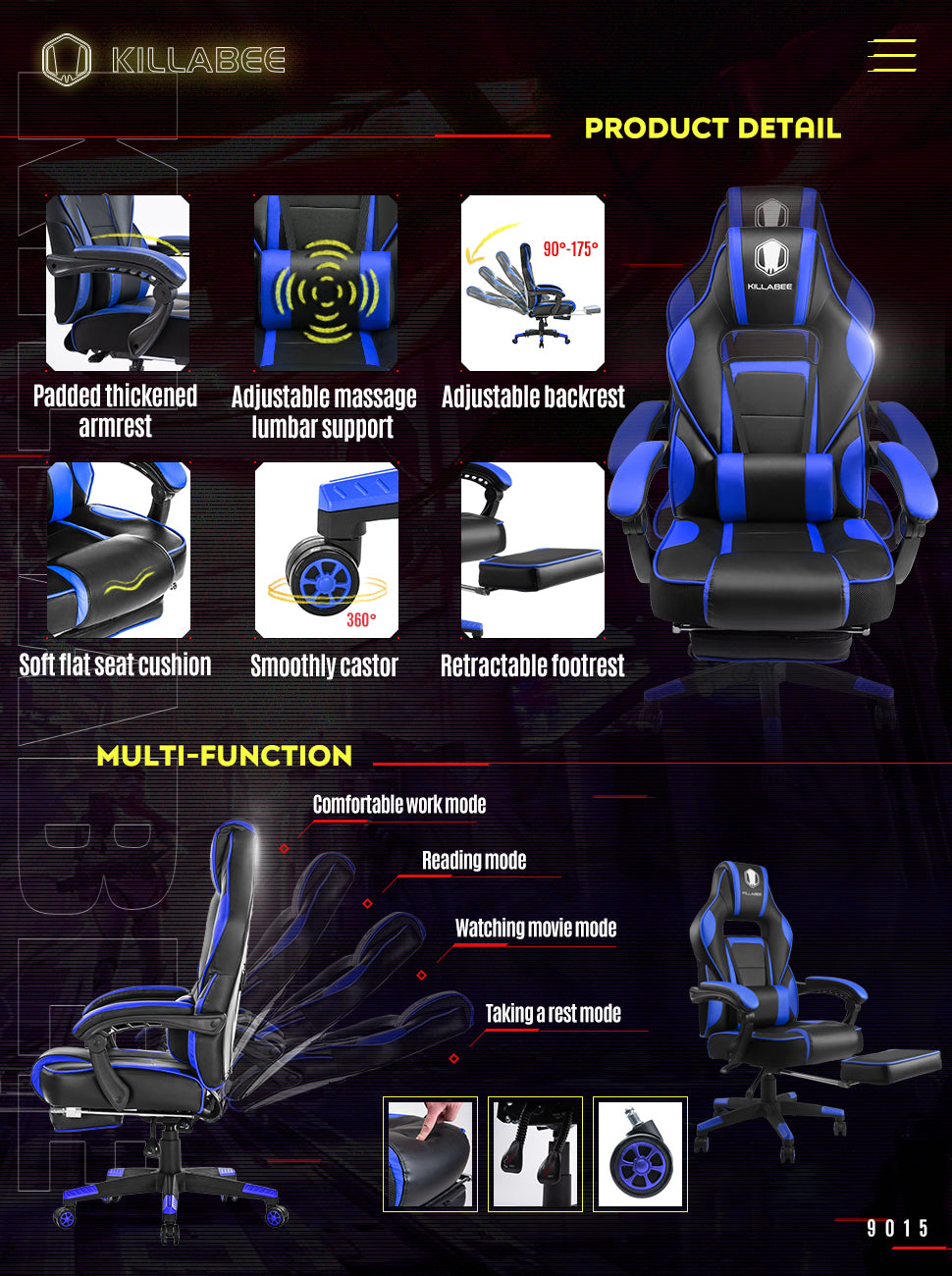 killabee racing gaming chair 9015 blue function demo