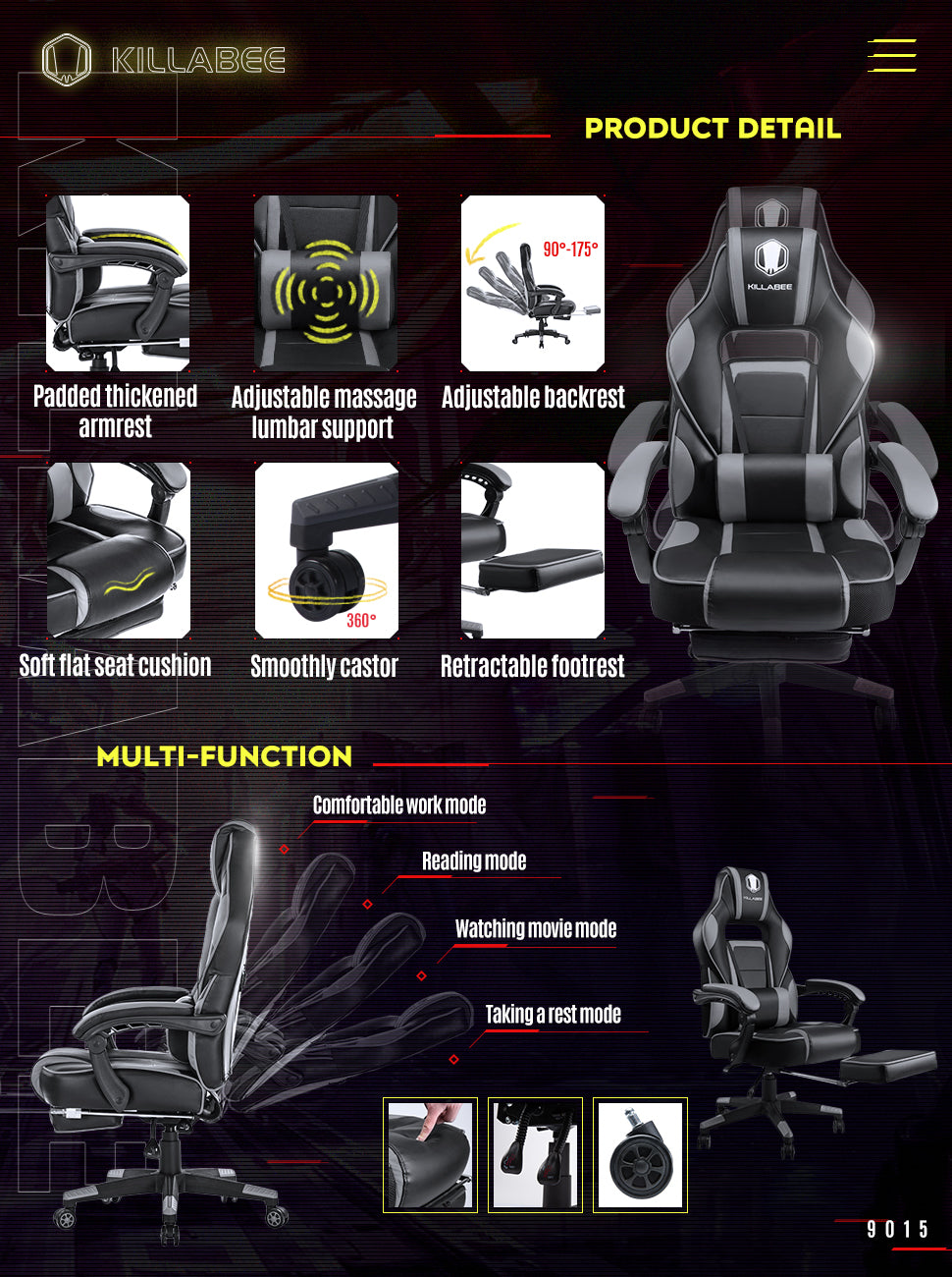 killabee racing gaming chair 9015 gray function demo