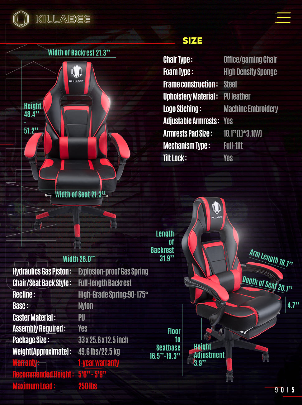 killabee racing gaming chair 9015 red measurement