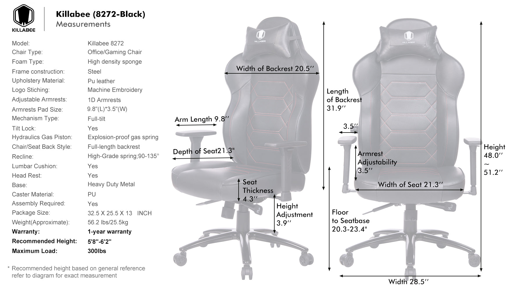 killabee 8272 gaming chair product details