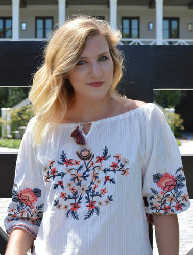 EBBIE EMBROIDERED OTS TOP | Shop The Pineapple Porch