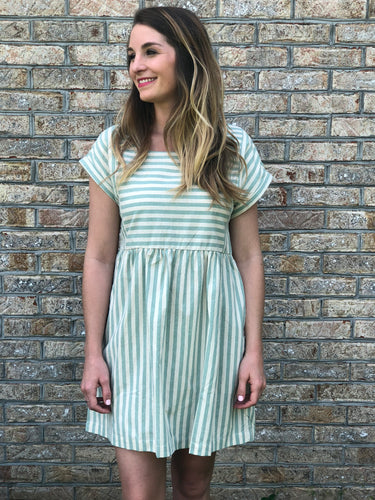 Sage Striped Dress | Shop The Pineapple Porch