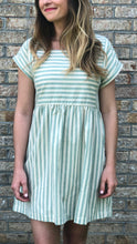 Sage Striped Mini Dress | Shop The Pineapple Porch