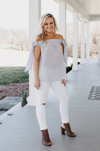 Lauren OTS Bow Top | Shop The Pineapple Porch