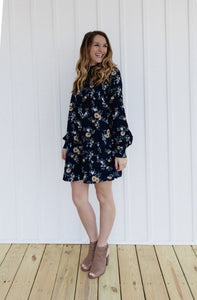 ABBEY FLORAL HIGH NECK DRESS FRONT | SHOP THE PINEAPPLE PORCH