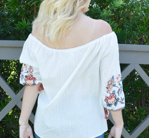 EBBIE EMBROIDERED OTS TOP BACK | Shop The Pineapple Porch