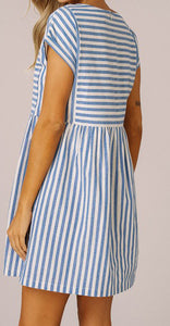 Sage Striped Dress Blue | Shop The Pineapple Porch