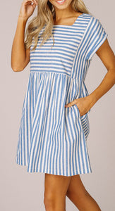 Sage Striped Mini Dress Blue  | Shop The Pineapple Porch