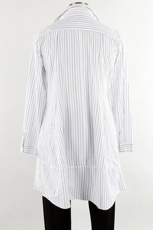Striped Cotton Long Sleeve Tunic or Short Dress with Pockets - You-nique Bou-tique