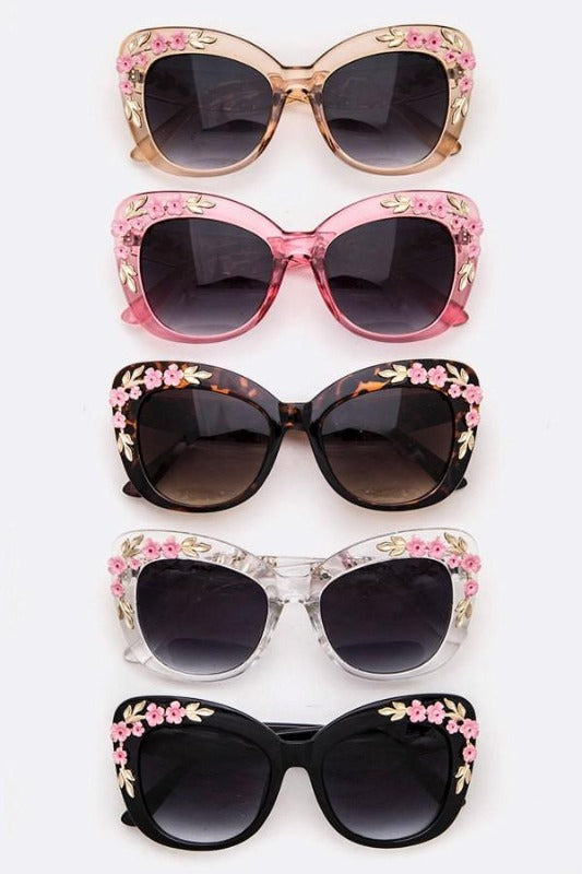 Adorable Fit Over Sunglasses with Floral Embellishments - You-nique Bou-tique