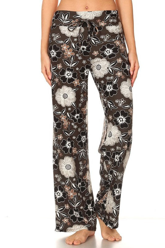 Mocha with B&W Flowers - Buttery Soft Lounge Pant with Drawstring Waist - You-nique Bou-tique
