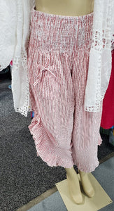 3 Color Ways - One Size Super Cute Cotton Pinstripe Pant with Adjustable Gathered Side Hem - You-nique Bou-tique