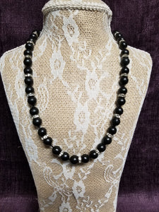 Black Beaded Necklace with Crystal Spacers in Swanton