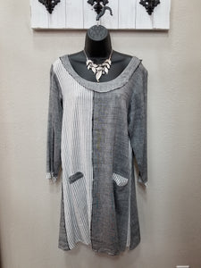 Distressed Mixed Grey Dress with Front Pockets in Swanton