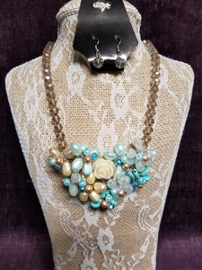 Blues & Turqoise Necklace Set in Swanton