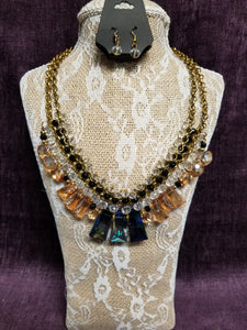 Blues, Golds & Crystal Necklace Set in Swanton