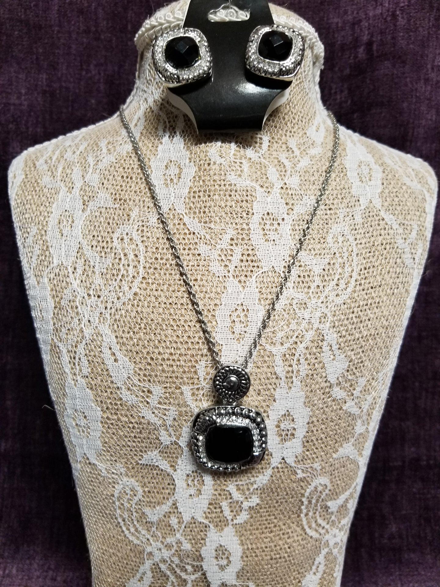 Silver with Black Stones set with Crystals in Swanton