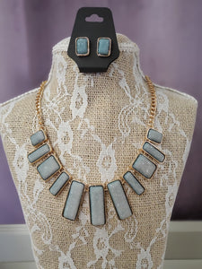 Glittering Grey Rectangle Necklace Set in Shipshewana - You-nique Bou-tique