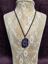 Sliced Purple Agate Surrounded in Pave' Black Crystals in Swanton - You-nique Bou-tique