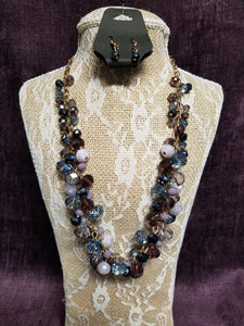 Mixed Purple & Blue Beads Necklace Set in Swanton - You-nique Bou-tique
