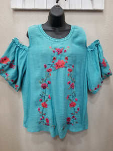 Cute Off-the-Shoulder, Floral Embroidered Peasant Top in Swanton - You-nique Bou-tique