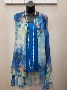 Beautiful Floral Vest with Cut-Away Hem in Swanton - You-nique Bou-tique