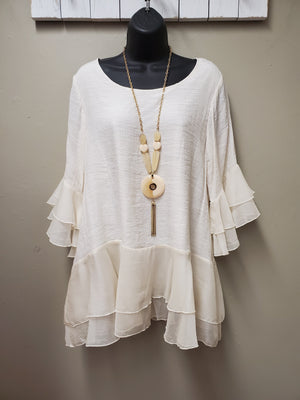 Beautiful & Soft Neutral Layered Top - You-nique Bou-tique