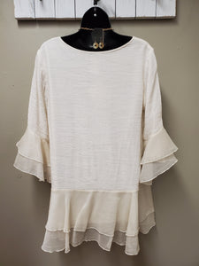Beautiful & Soft Neutral Layered Top in Shipshewana - You-nique Bou-tique