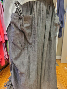 2 Color Ways - One Size Chambray Cotton Pant with Adjustable Gathered Side Hem - You-nique Bou-tique