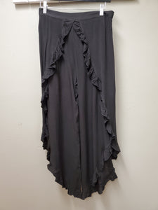 One Size - Super Cute Black Faux Wrap Rayon Pant with Open Side - You-nique Bou-tique