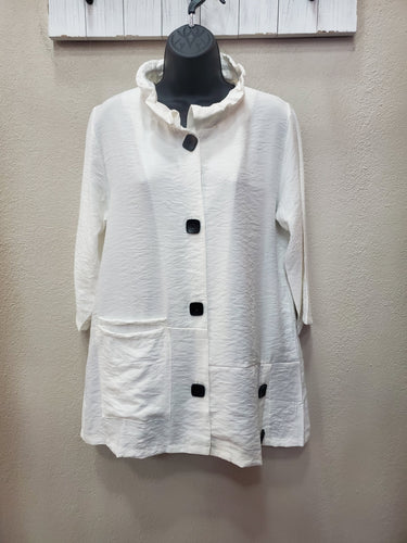 Classic White Top or Jacket with Black Buttons and Pocket in Swanton - You-nique Bou-tique
