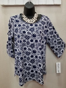 Lulu-B Navy & White Modern Circles with Interesting Detail on Sleeve in Swanton - You-nique Bou-tique