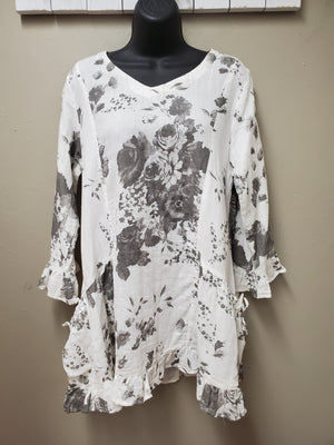 3 Color Ways - Beautiful Cotton Floral Tunic with Pockets - You-nique Bou-tique