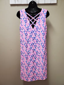 Sleeveless Dress with UPF 50+ Fabric and Criss-Cross Back in Shipshewana - You-nique Bou-tique