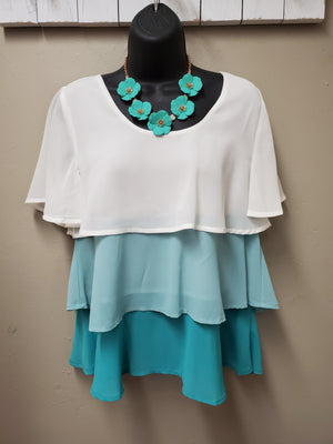 Tiered Turquoise Top with Sleeves - You-nique Bou-tique