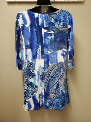 Paisley in Blues Tunic with a Beautiful Drape - You-nique Bou-tique