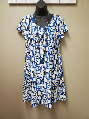 Various Blue Swirls Dress with Pockets - You-nique Bou-tique
