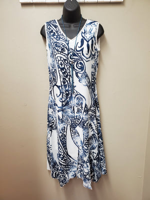 Showstopper Dress with Textured Blue Swirls - You-nique Bou-tique