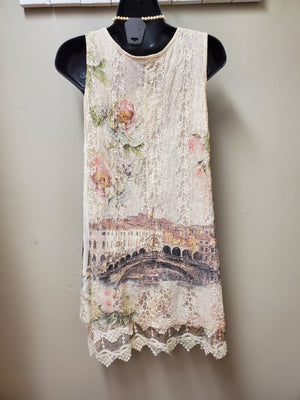 Stunning Sleeveless Lace Tunic with Sublimation Print - You-nique Bou-tique