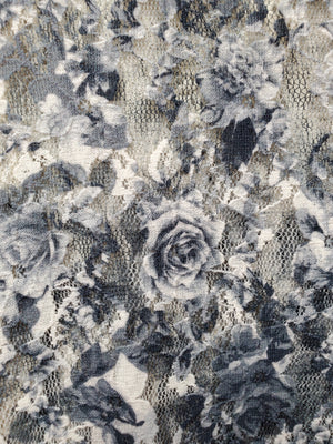 Lace Jacket with Sublimation Grey Roses - You-nique Bou-tique