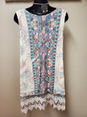 Sleeveless Lace Tunic with Sublimation Print - You-nique Bou-tique