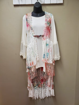 Sleeveless Lace Vest with Sublimation Print - You-nique Bou-tique