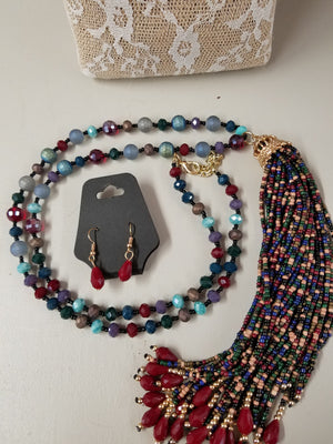 Beaded Tassel Necklace Set - You-nique Bou-tique