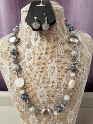 Soft Tones of Grey/Silver & White Necklace Set - You-nique Bou-tique