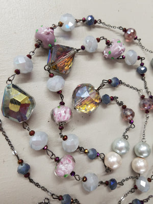 Stunning Long Necklace with Lampwork Beads - You-nique Bou-tique